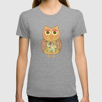 Woodland Owl In A Tree Womens Fitted Tee Tri-Grey SMALL