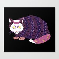 Abstract Cat [WHITE] Canvas Print