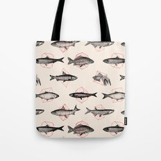 Fishes In Geometrics (Red) Tote Bag