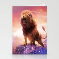 Roaring Space Lion Stationery Cards
