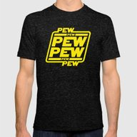 Pew Pew Pew Mens Fitted Tee Tri-Black LARGE