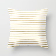 Gold Paris Stripe Patter… Throw Pillow