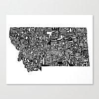 Typographic Montana Canvas Print