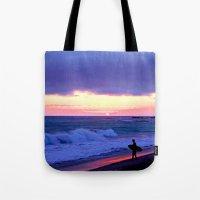 Sunset Skimboarder Tote Bag