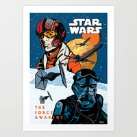 Poe Dameron vs. Tie Fighter Pilot Art Print