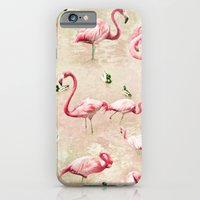 iPhone & iPod Case featuring Flamingos Vintage Pink  by Lisa Argyropoulos