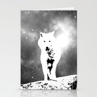 Walking on the moon Wolf Stationery Cards
