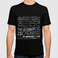 Inspirational Words Mens Fitted Tee Black SMALL