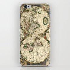 Old map of world hemispheres (enhanced) iPhone & iPod Skin