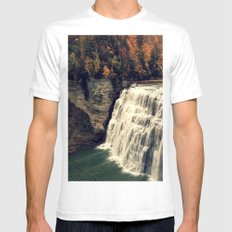 Waterfall in autumn Mens Fitted Tee White SMALL