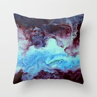 Fluid abstact in blue and purple Throw Pillow