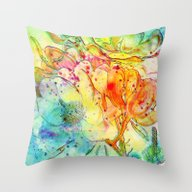 Throw Pillow featuring Bright Floral by Clemm