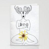 self portrait with calendula Stationery Cards