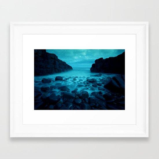 Blue Rocks Ocean and Stars Framed Art Print