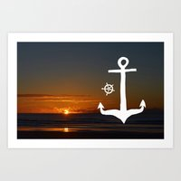 Anchors At Sea Art Print