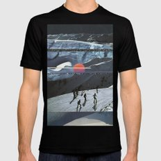 Night Skiing  Mens Fitted Tee Black SMALL