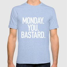 Monday You Bastard Mens Fitted Tee Tri-Blue SMALL