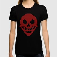 Pixel Skull Womens Fitted Tee Black SMALL