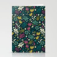 Midnight Florals (pop) Stationery Cards