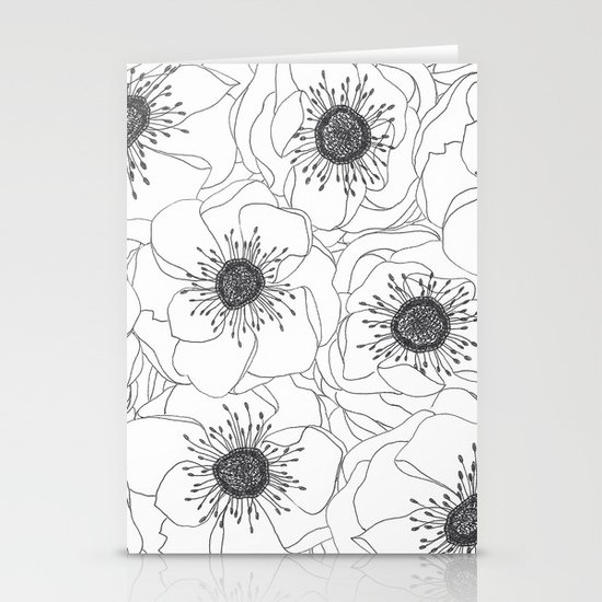 White Anemones Stationery Card