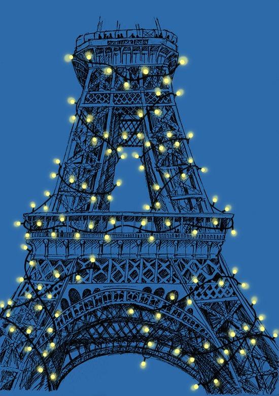 Paris Eiffel Tower Holiday Lights Art Print