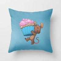 Cupcake Mouse Throw Pillow