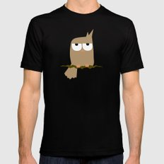 owl on a tree Black SMALL Mens Fitted Tee