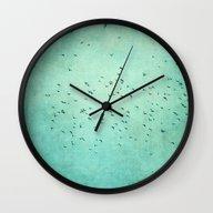 Wall Clock featuring Birds IV by Claudia Drossert