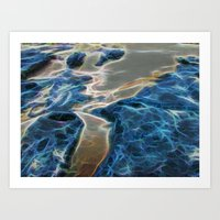 Abstract rock pool and sand on a beach in Queensland Art Print