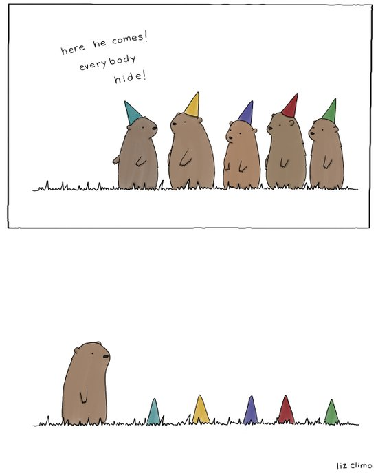 Groundhog Surprise Party  Art Print