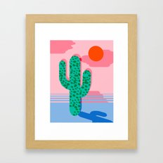 No Foolin - retro throwback neon art design minimal abstract cactus desert palm springs southwest  Framed Art Print