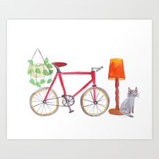 Cat bike lamp plant Art Print