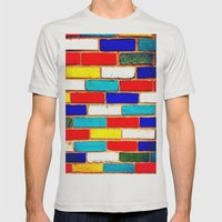 Vibrant Brick Mens Fitted Tee Silver SMALL