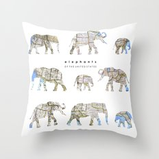 Elephants of the United States Throw Pillow