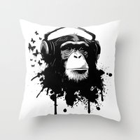 Monkey Business - White Throw Pillow