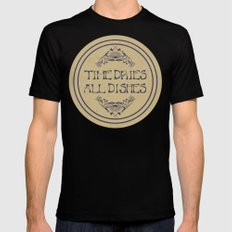 Time Dries All Dishes SMALL Mens Fitted Tee Black