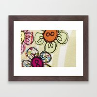 Embroidered Flowers Gree… Framed Art Print