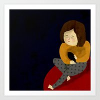 Art Print featuring Me and my bird by Eszter Schall