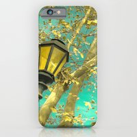 iPhone & iPod Case featuring Autumn Gold Leafs in Turquoise Sky  by AC Photography