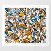 Multicolor Horse Feather… Art Print