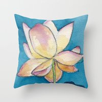 Lotus On Blue Throw Pillow
