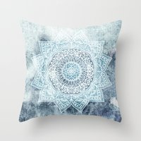 DEEP BLUE MANDALA Throw Pillow
