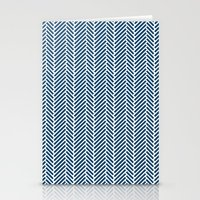 Herringbone Navy Inverse Stationery Cards