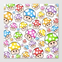 Iddy Diddy Mushrooms  Canvas Print