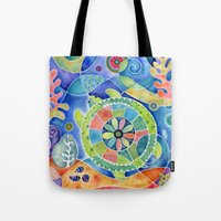 Sea Turtle Abstract Tote Bag