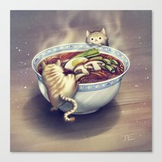Cats and Ramen Soup Canvas Print