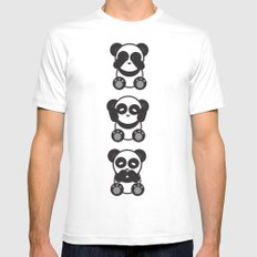 Panda Mantra White SMALL Mens Fitted Tee