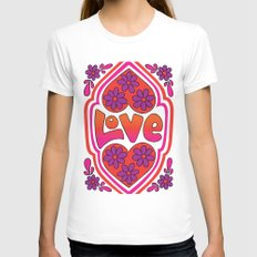 Psychedelic Love Womens Fitted Tee White SMALL