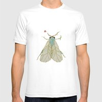 Moth Illustration  Mens Fitted Tee White SMALL