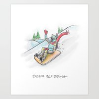Boba Sledding Art Print